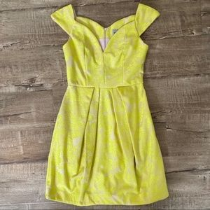 Asos Highlighter Yellow Lace Fit & Flare Dress 4